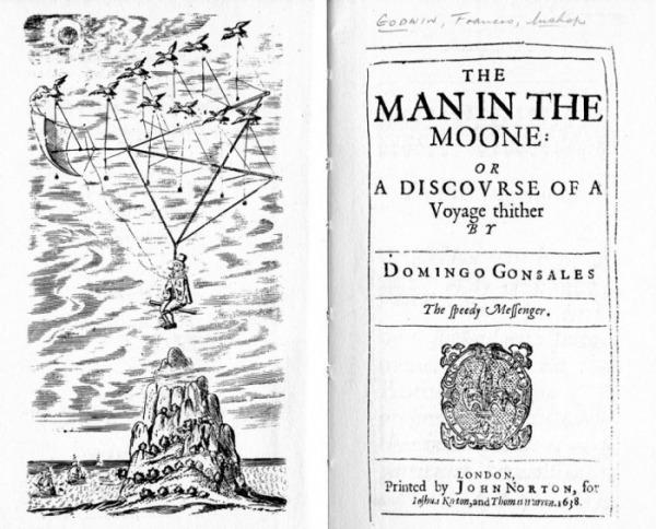 The Man in the Moone (1638) di Francis Godwin, frontespizio e copertina della prima edizione.